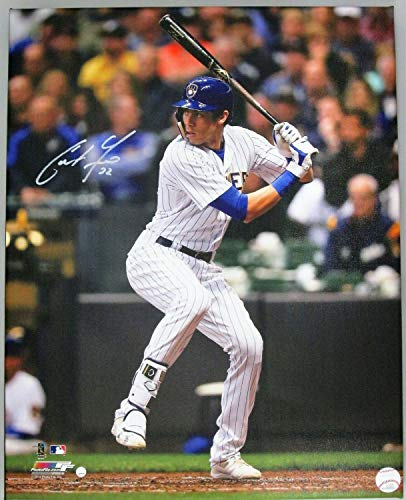 Brewers Christian Yelich Autographed Signed 16x20 Stretched Canvas #3 Auto - 2018 Nl Mvp - Certified - Stretched Canvas Iii
