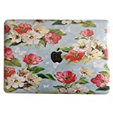 """Neway 2 in 1 bundle Art Fashion Leatherette Top Surface Rubberized Snap-On Hard Cover Case for Apple Macbook,With keyboard Cover,Mac Air 13""""(A1466/A1369),Colour:YH-1(Camellia)"""