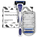 #3: Amazon Brand – Solimo 5-Blade Razor for Men with Precision Beard Trimmer, Handle & 2 Refills