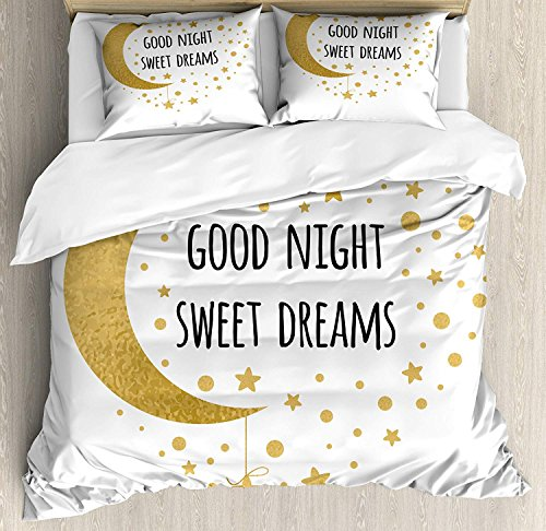 Sweet Dreams 4 Piece Bedding Set Duvet Cover Set Full Size, Cheerful Calligraphy with Moon Stars and Dots Monochrome Night Motifs, Luxury Bed Sheet for Childrens/Kids/Teens/Adults, Gold and Black