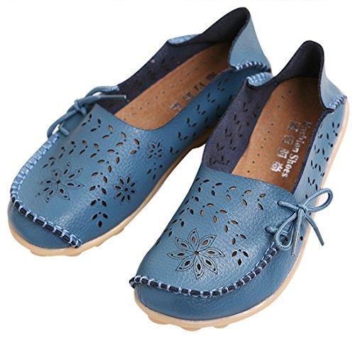 Flat Blue Loafer Women's Shoes Out Hollow Casual Ujoowalk gwSXn