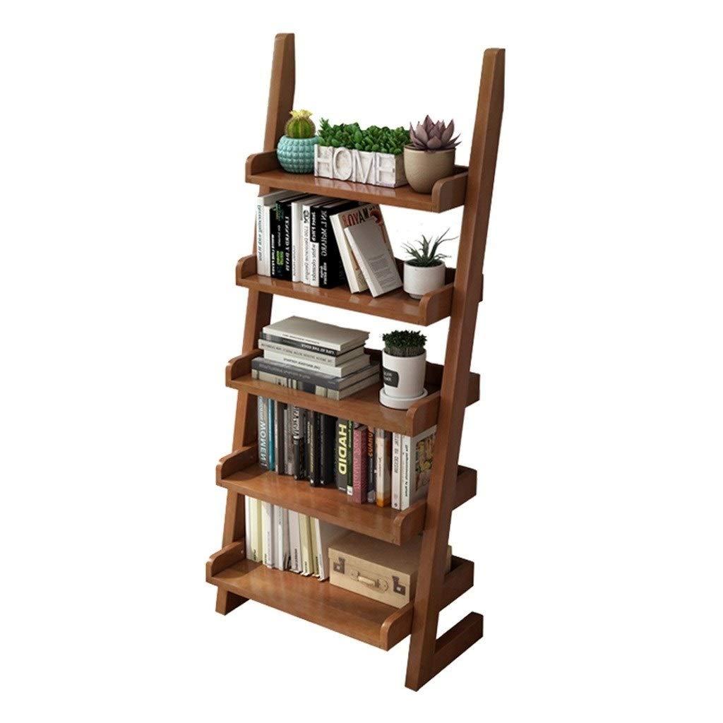 TIAN 5-Layer Household Trapezoidal Solid Wood Bookshelf Racks Floor Simple Wall Shelf Bookshelf Shelves Storage Lockers by TIAN