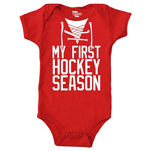Tcombo My First Hockey Season Bodysuit (12 Months, Red)