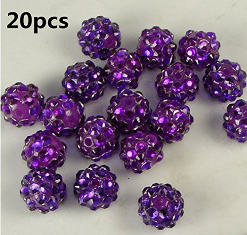 (20pcs 10mm Purple Rhinestone Crystal Shamballa Beads Charms Disco Ball Pave Spacer Beads for Jewelry Makings by SamGreatWorld)