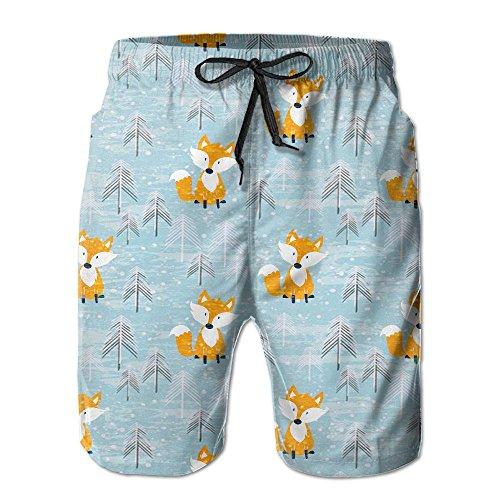 NUNOFOG Cute Fox Men's Swim Boardshorts Quick-Dry Surf Beach Shorts Casual Sport Trunks Shorts Beach Pants With Pocket