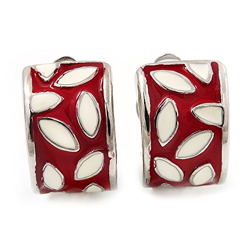 Plated White Enamel - Small C-Shape Red/White Enamel Clip On Earring In Rhodium Plated Metal
