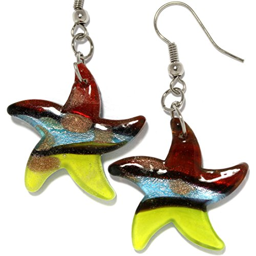 (AnsonsImages Starfish Glass Murano Inspired Dangle Earrings Red Yellow Black Blue)