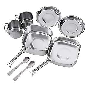 NATUREFUN Mini Kit de Utensilios de Cocina portatil y Ligero para Camping. Juego de Utensilios de Cocina Copa Spork Equipo de Cocina para Picnic de 8 ...
