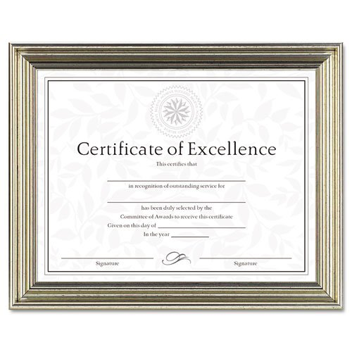 DAX Products - DAX - Antique Colored Document Frame w/Certificate, Metal, 8-1/2 x 11, Silver - Sold As 1 Each - Elegant vintage display with antique coloring. - Includes one ready-to-use certificate for creating your own personalized award. - Easel back for desktop use, also hangs vertically or horizontally.