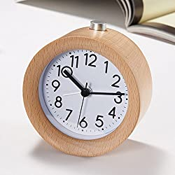 Small Travel Alarm Clock,TOPBRIGHTTRADE Classic Handmade Round Wooden Silent Desk Alarm Clock Snooze Alarm Clock with Nightlight (wooden)