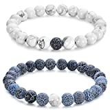 Yumei Jewelry Distance Bracelets for Lovers-2pcs Black Matte Agate & White Howlite 8mm Beads for Christmas
