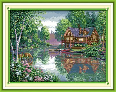 Joy Sunday Cross Stitch kits, Leisure hut,11CT Stamped, 78cm×61 or - Hut Leisure