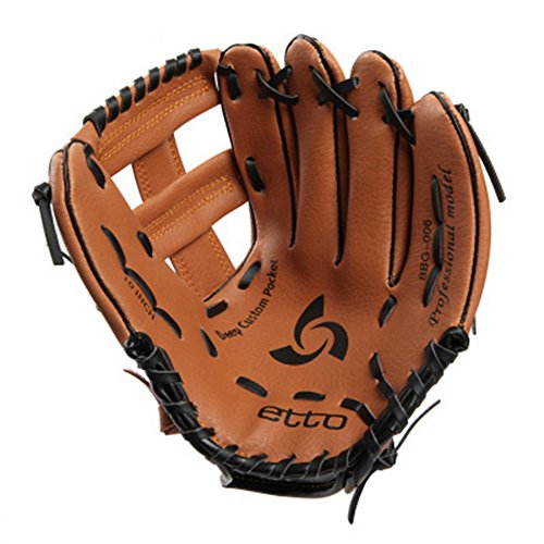 Professional Youth Baseball Gloves Left Handed Soft Thicken Durable PU Leather Infield Catchers Mitt Brown (11 Inch)