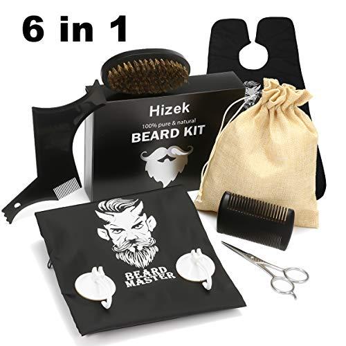 Beard Kit for Men Dad Beard Growth Grooming & Trimming-Hizek 6 IN 1 Beard Grooming Kit Including Beard Shaping Tool Template,Trimming Bib,Beard Brush,Beard Comb,Beard Scissors,Convenient Canvas Bag Pe ()