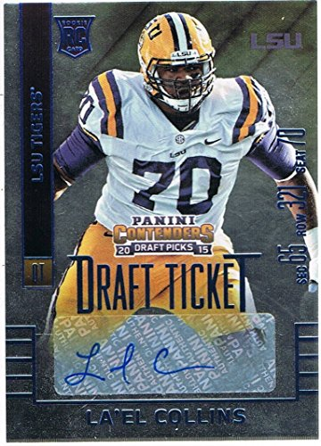 rs Draft Picks College Draft Ticket Blue Foil #211 La'el Collins Autograph RC Rookie (Collins Autographs)