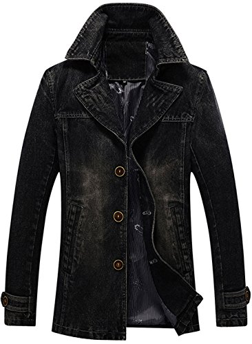 Chouyatou Men's Classic Notched Collar Single Breasted Rugged Wear Lined Denim Trucker Jacket (Black, Large) by Chouyatou