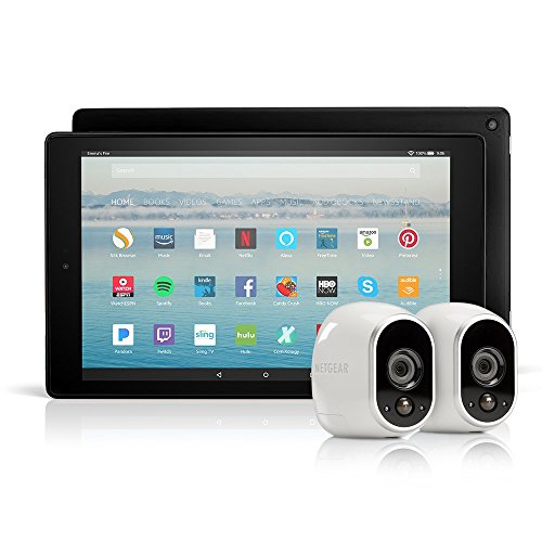 All-New Fire HD 10 Tablet with Alexa Hands-Free, 32 GB, with Special Offers (Black) + Arlo Security System by NETGEAR