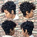Short Ombre Brown Black Curly Hair Wigs For Black Women Synthetic Short Wigs For Black Women African American Women Wigs