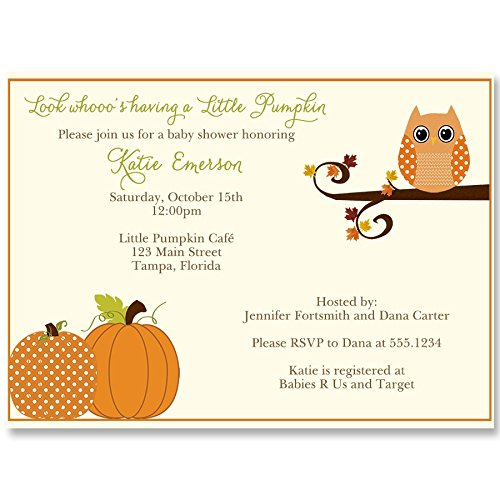 Autumn Baby Shower Invitations, Owl, Fall, Pumpkin, Leaves, Baby Boy, Gender Neutral, Baby Girl, Rustic, Personalized, Customized, Set of 10 Printed Invites and Envelopes, Autumn is a Hoot