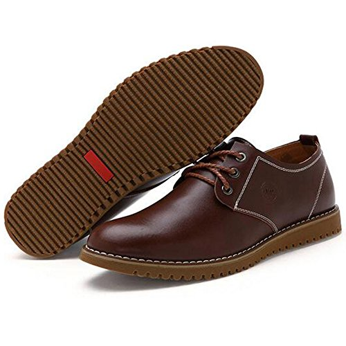 Herren bekleidung Derby Lederschuhe Businessschuhe Anzugschuhe Schnürhalbschuhe Casual Oxfords Leder Schuhe Braun