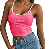 Toponly Summer Sling Tank Tops for Women Sexy Letter Print Sleeveless Tee Strappy Crop Tops Casual Camisole
