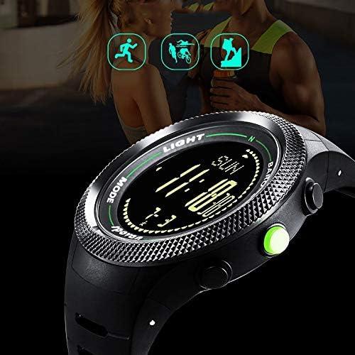 ATAとU- スプーン - 登山高度釣り圧力コンパス温度計ステップランニング屋外多機能腕時計男性超薄型 (色 : ブラック)