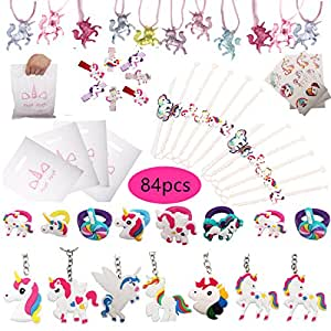 84pcs Unicorn Party Favors, Bracelets, Rings, Keychains, Necklace, Tattoos, Hair Clips and Unicorn Party Bags. 12 pcs for Each. Rainbow Unicorn Birthday Party Supplies Set Novelty Toys for Kids Girls