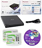 Pioneer 6x BDR-XD05B Ultra Lightweight External Blu-ray BDXL Burner, Cyberlink Software and USB Cable Bundle with 100pk DVD-R RiDATA White Inkjet Printable