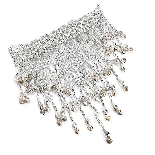 (Belegend Belly Dance Necklace Small Bell Beads Chain Jointed Pendant Tassel Glossy (Silver))