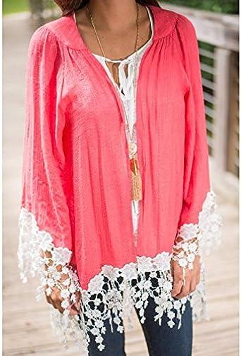 adeby (TM) Blusas de Mujer Barato ropa china Plus Size mujer blusas Full Sleeve niña encaje Blusa Blusas y camisas mujer: Amazon.es: Ropa y accesorios