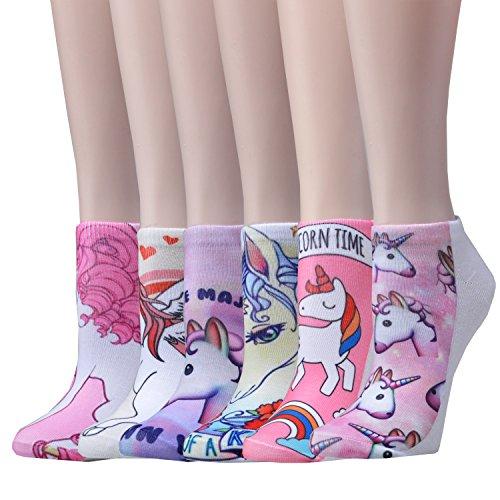 Epeius 6 Pairs Girls'/Women's Cartoon Unicorn Low Cut Socks Colorful Funny Socks with Box Value Pack,White/Pink/Blue/Purple/Beige,Shoe Size 5-8.5 (Womens Unicorn)