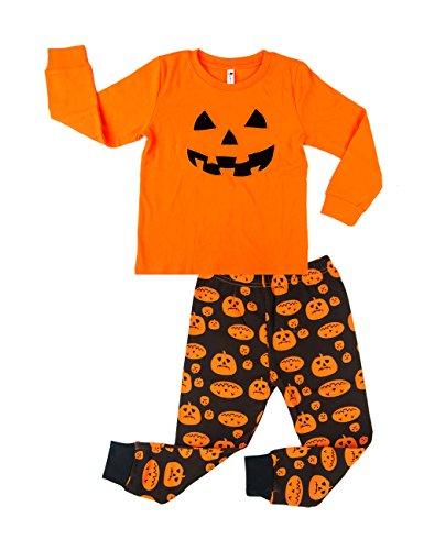 Tecrok Toddler Kids 2 Piece Pumpkin Embroidery Cotton Top & Pants Pajama, Soft Breathable Boys Sleepwear set Halloween, Size 4 -