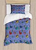 Big buy store Llama Duvet Cover, Cartoon Style Furry Animals with Mexican Folk Details Triangle and Cactus Kids Design, Decorative 4 Piece Bedding Set with 2 Pillow Sham, Multicolor(Twin)