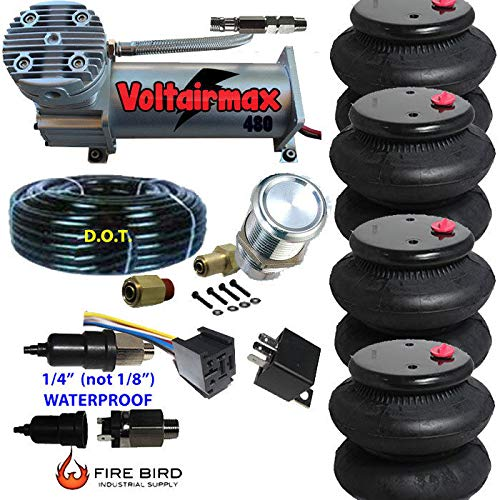480C Air Compressor Ride Kit 200psi Rate All Pictured 4 2600 Airspring Bags - Compressor Volt