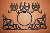 (5)pcs LONE STAR KITCHEN SET, SHELF BRACKETS, TOWEL RING, WALL HOOKS, CAST IRON