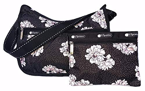 LeSportsac Peony Party Classic Hobo Crossbody Handbag + Cosmetic Bag, 2 Tone Stitched Strap, Style 7520/Color F083 Classic Hobo Style Handbag