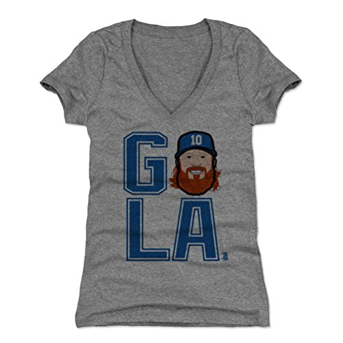 500 LEVEL Justin Turner Women's V-Neck Shirt Medium Tri Gray - Los Angeles Baseball Women's Apparel - Justin Turner GO LA B