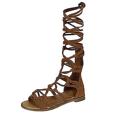 1448fa210c036 ZhengYue Femmes Genou Sandales Spartiates Lacet Plat à Lanières Chaussures  d'Eté Taille Kaki 38