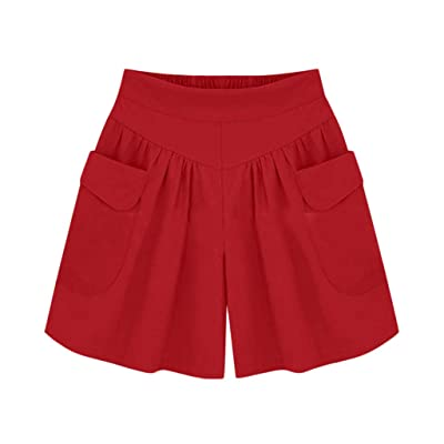 Sumeimiya Women's Plus Size Short Pants, Ladies' Solid Elastic Waist Hot Pants Summer Loose Casual Shorts with Pocket at Women's Clothing store