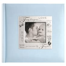 MCS MBI 846610 9 by 9-Inch Fabric Expressions with Frame Front 200 Pocket Album in Baby Blue