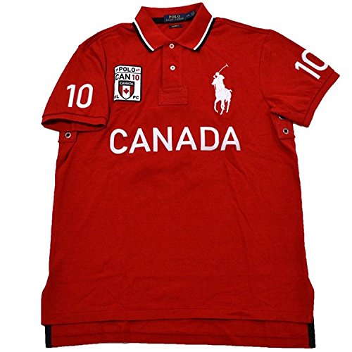Polo Ralph Lauren Mens Big Pony Canada Custom Fit Mesh Polo Shirt (X-Small, Canada - Canada Lauren Ralph Lauren