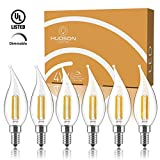 Dimmable Candelabra LED Light Bulbs: 4 Watt, 2700K Warm White Lightbulbs - 40W Equivalent - E12 LED Bulb Base - Flame Tip - 400 Lumen - UL Listed - Indoor or Outdoor LED Candelabra Bulb Set - 6 Pack