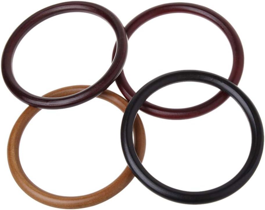 VIccoo Round Wooden Handle for Handmade Handbag DIY Tote Purse Frame Making Bag Hanger Deep Brown