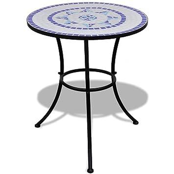 Tisch Aus Keramik Mit Glasmosaik 60 Cm Blau Weiss Material Gestell