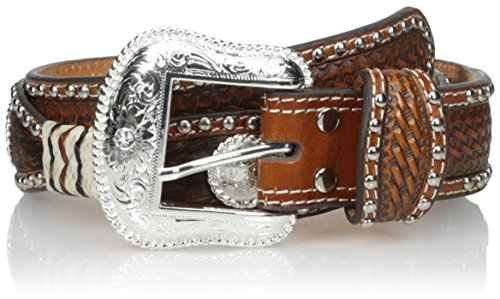 Nocona Belt Co. Men's Circle Scalop 2 Tone Raw, Tan, 30