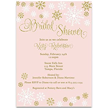 winter bridal shower invitations wedding pink gold snowflakes blush white