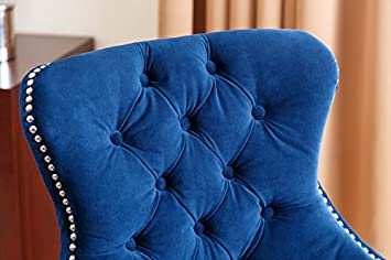 Abbyson Versailles Tufted Barstool, Navy Blue