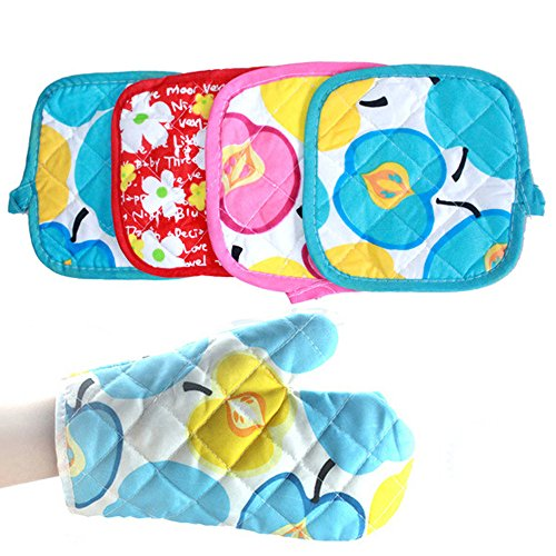 LiPing Colorful Microwave Cotton Gloves, Cooking Heat Resistant Kitchens Mitts for Cooking, Baking, Barbecue Potholder, Mothers Day Gift Present (A)