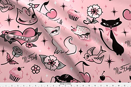 Spoonflower Pinup Style Fabric - Rockabilly Cute Cats Cupcakes Pink Kawaii Cute Tattoo Flash - by Miss Fluff Printed on Fleece Fabric by The Yard ()