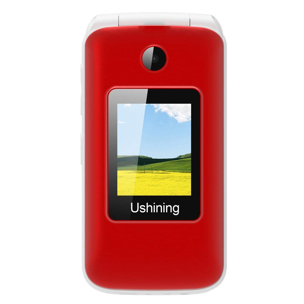 Ushining 3G Unlocked Flip Cell Phone for Senior & Kids,Easy-to-Use Big Button Cell Phone with Charging Dock (Red) by USHINING (Image #7)